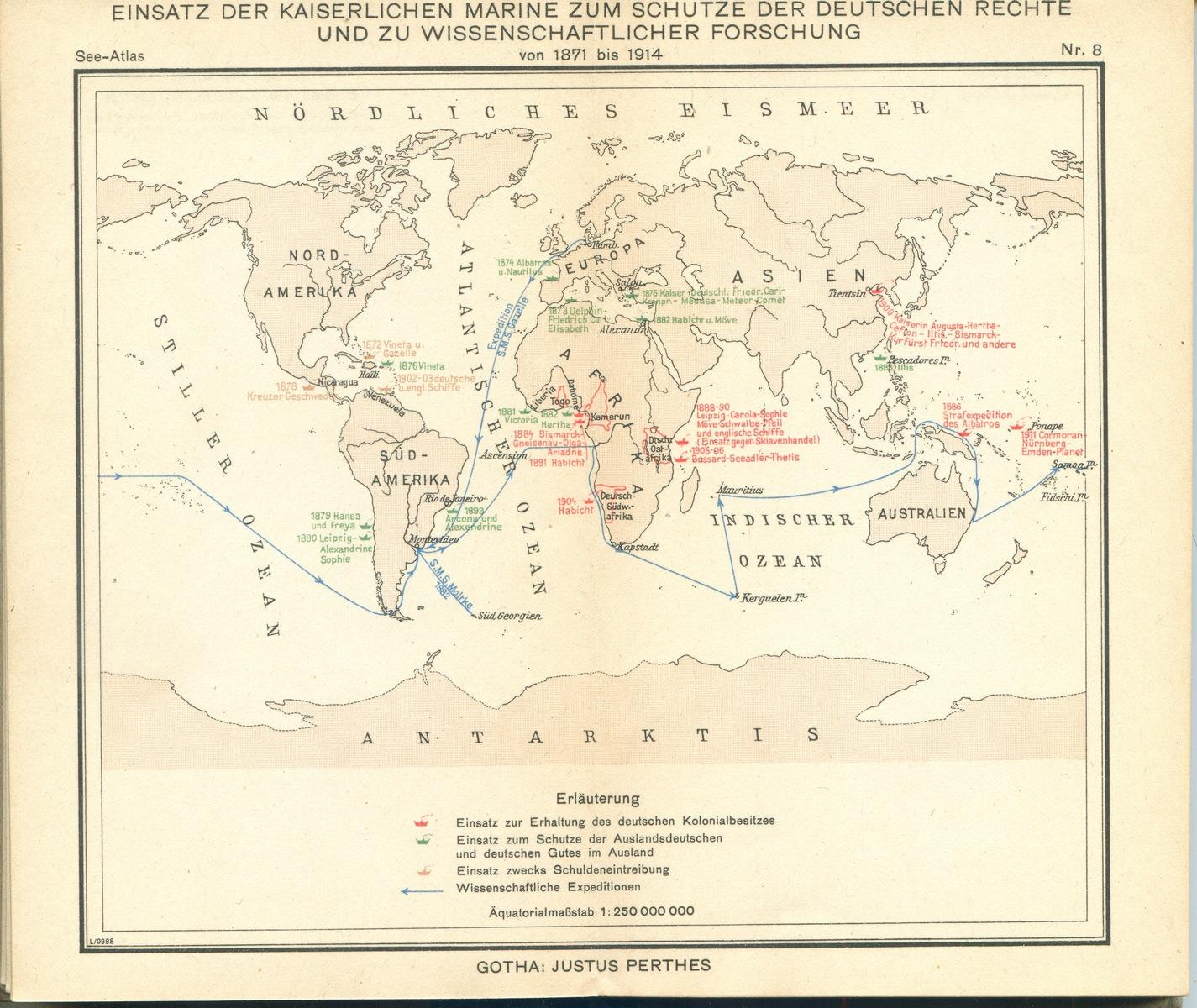 Einsatz der Kaiserlichen Marine zum Schutze der Deutschen Rechte und zu wissenschaflicher Forschung von 1871 bis 1914