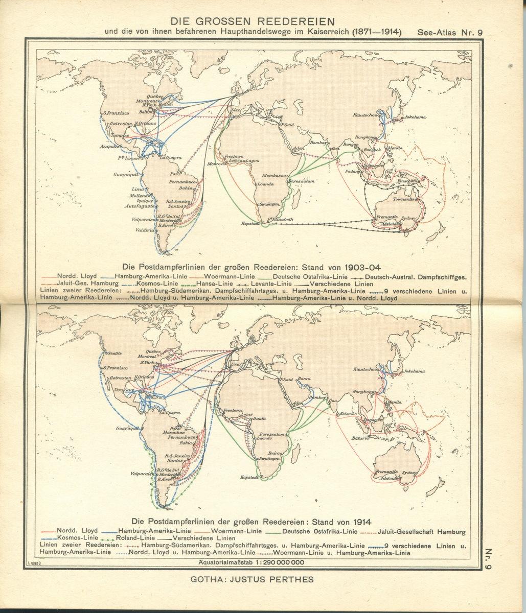 Die Grossen Reedereien und die von ihnen befahrenem Haupthandelswege im Kaiserreich (1871 - 1914)